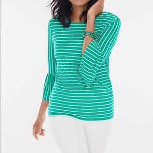 Chico's Glamour Striped Flutter Sleeve Top